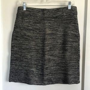 LOFT Sweater-Style Skirt, Black/White, Medium